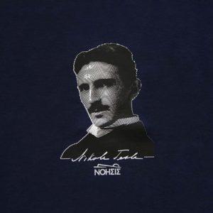 T-shirt Tesla portrait μπλε